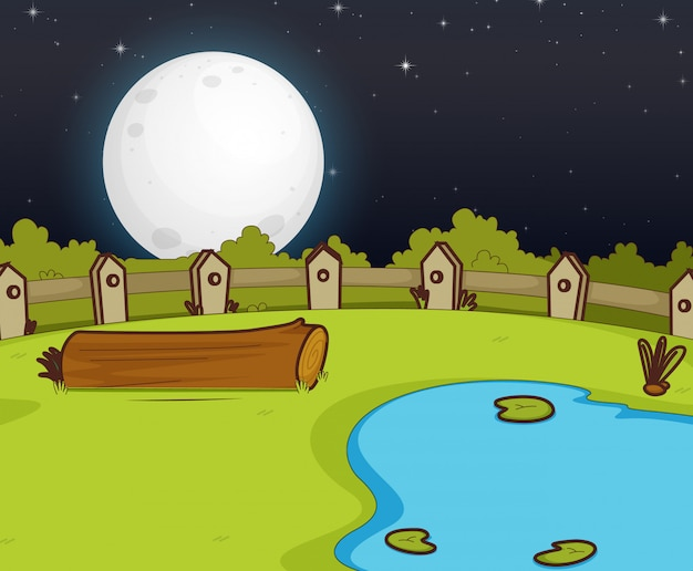 Farm scene with swamp and big moon at night Premium Vector