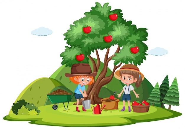 2人の女の子がりんごを描いている農場のシーン Premiumベクター