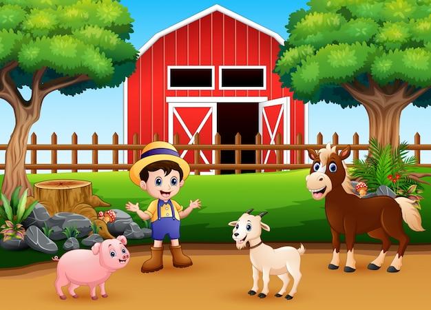 Farm scenes with different animals and farmers in the farmyard Premium Vector