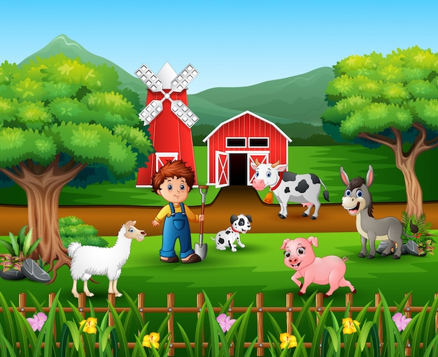 Farm scenes with many animals and farmers Premium Vector