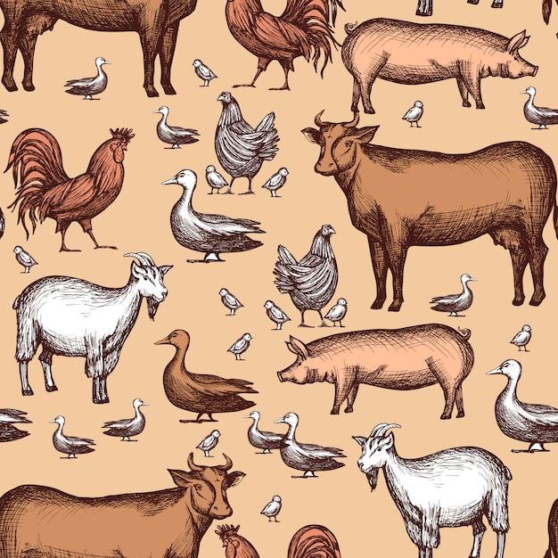 Farm seamless pattern Free Vector