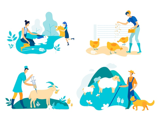 Farm set with poultry and livestock cartoon flat. Premium Vector