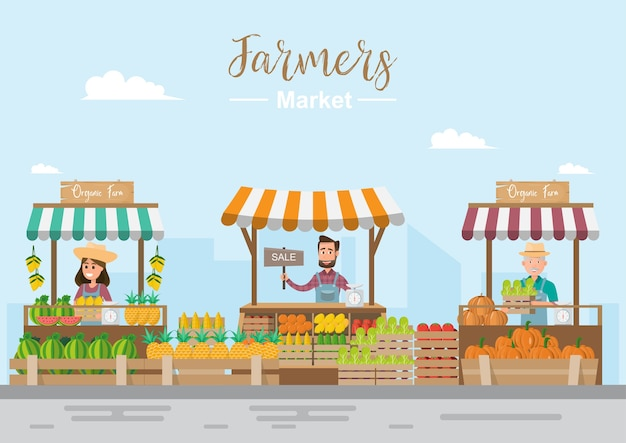Farm shop. local market. selling fruit and vegetables. Premium Vector