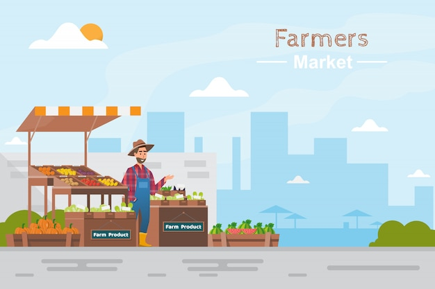 Farm shop. local market. selling fruit and vegetables Premium Vector