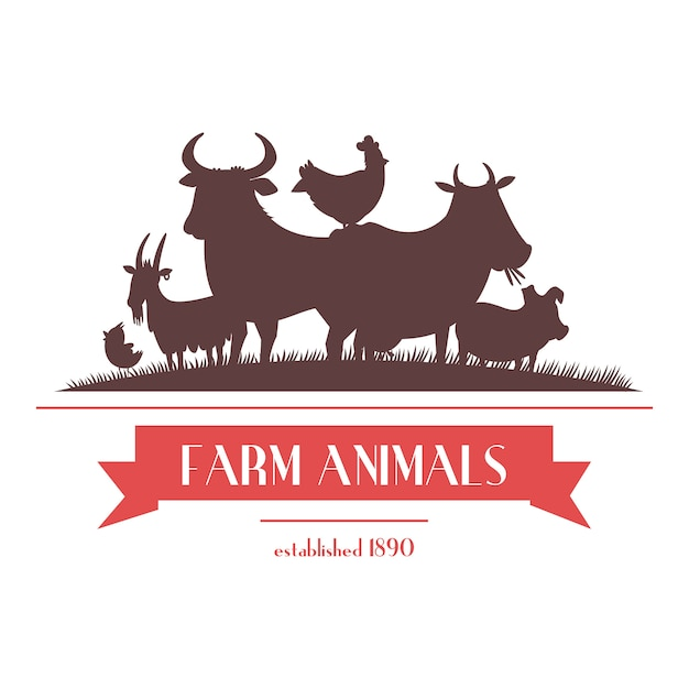 Farm shop signboard or label two-color design with livestock animals and chickens silhouettes abstract vector illustration Free Vector