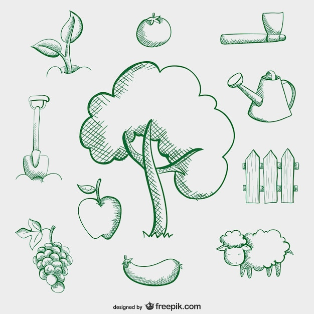 farm simple drawings vector free download