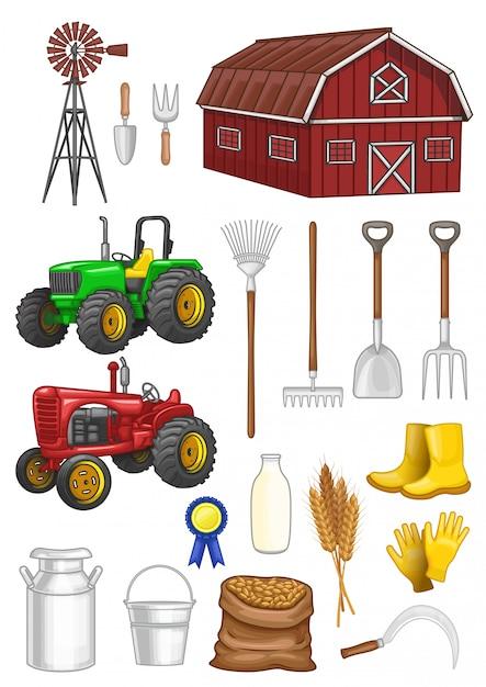 Farm stuff vector set Premium Vector