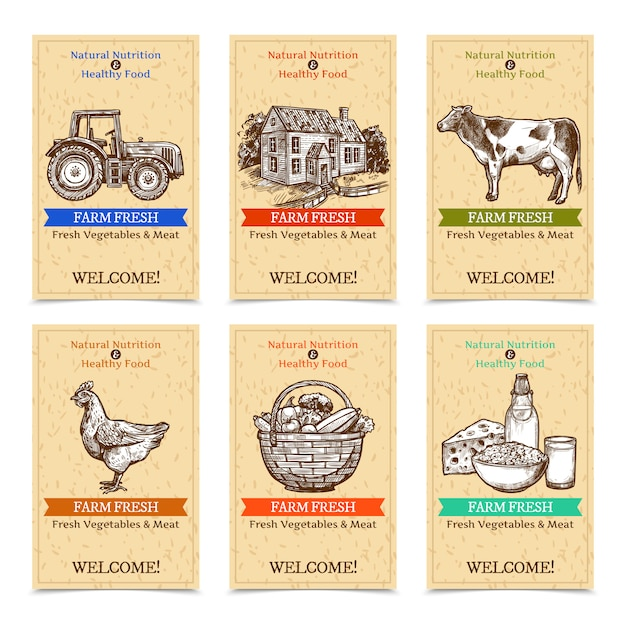 Farm tags banners Free Vector