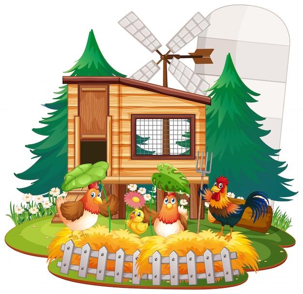 Farm theme background with farm animals Premium Vector