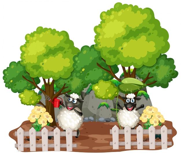 Sfondo a tema fattoria con animali da fattoria Vettore gratuito