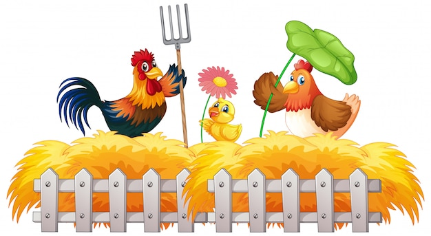 Farm theme background with farm animals Free Vector