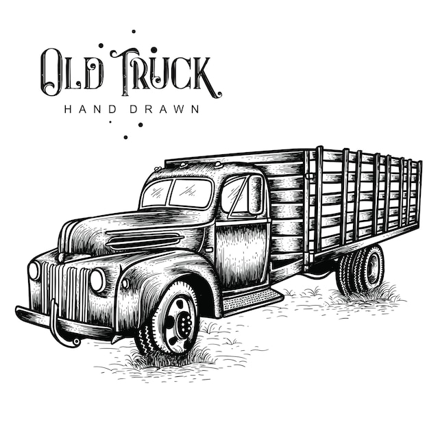 Farm truck hand drawn Premium Vector