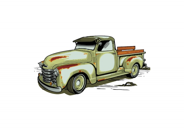 Farm truck retro style illustration Premium Vector