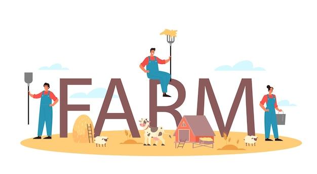 Farm typographic header. Premium Vector