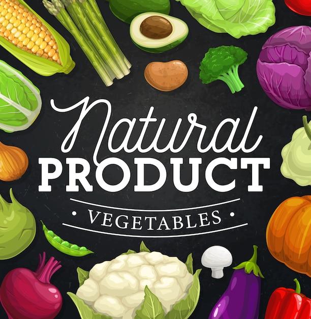 Граница рамки овощей фермы на доске. Premium векторы