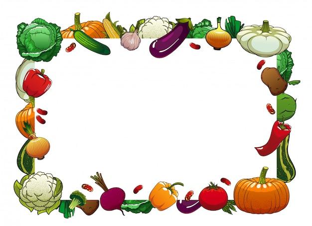 ファーム野菜分離ベクトルフレーム、生野菜 Premiumベクター