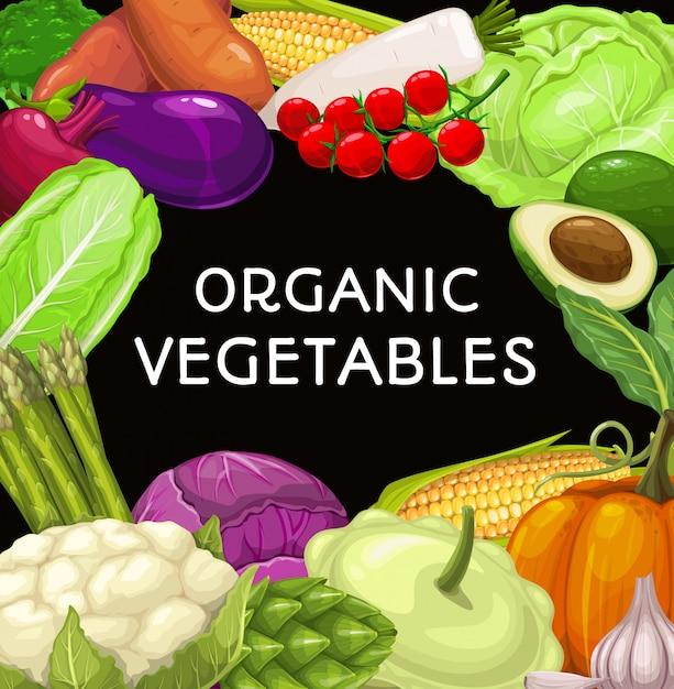 Ферма овощей квадратная рамка Premium векторы