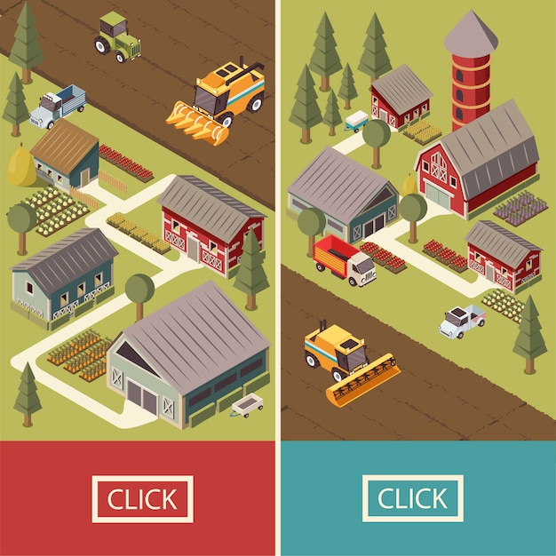 Farm vehicles isometric banners Free Vector
