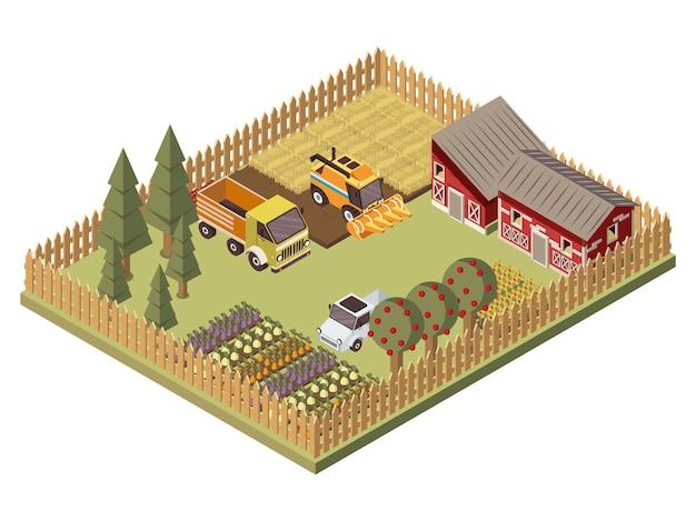 Farm vehicles isometric design Free Vector