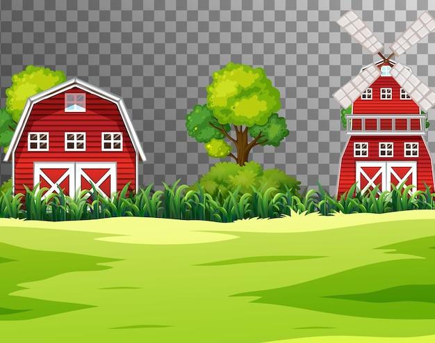 Ферма с красным сараем и ветряной мельницей на прозрачном Бесплатные векторы