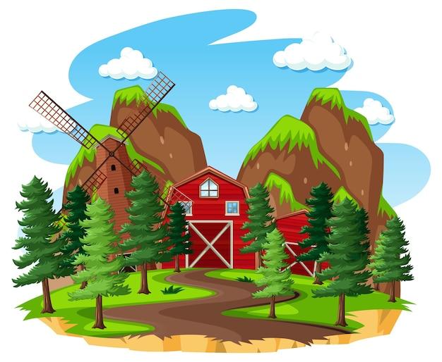 白い背景の上の赤い納屋と風車のある農場 無料ベクター