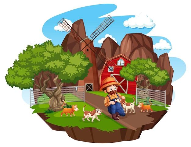 白い背景に赤い納屋と風車のある農場 無料ベクター