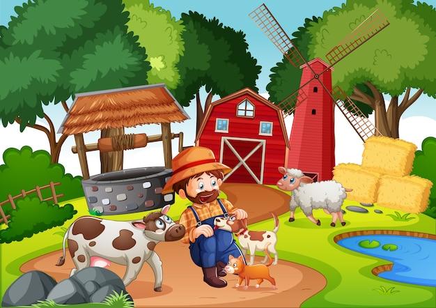Ферма с красным сараем и ветряной мельницей Бесплатные векторы