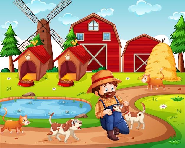 赤い納屋と風車のシーンのある農場 無料ベクター