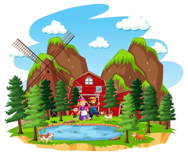 赤い納屋と風車のある農場 無料ベクター