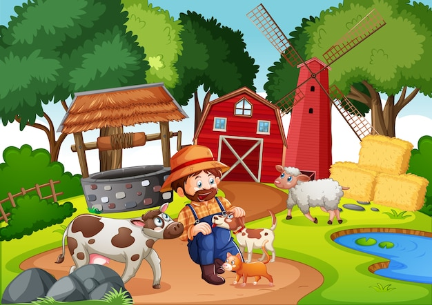 Farm with red barn and windmill scene Free Vector