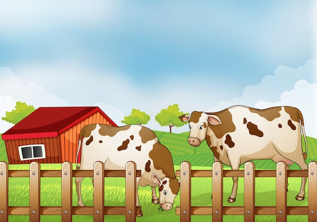 A farm with two cows inside the fence Free Vector
