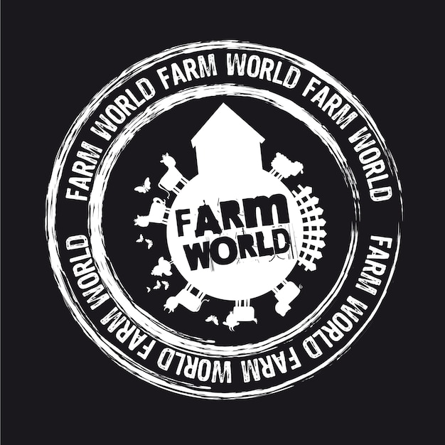 Farm world stamp isolated over black background vector Premium Vector