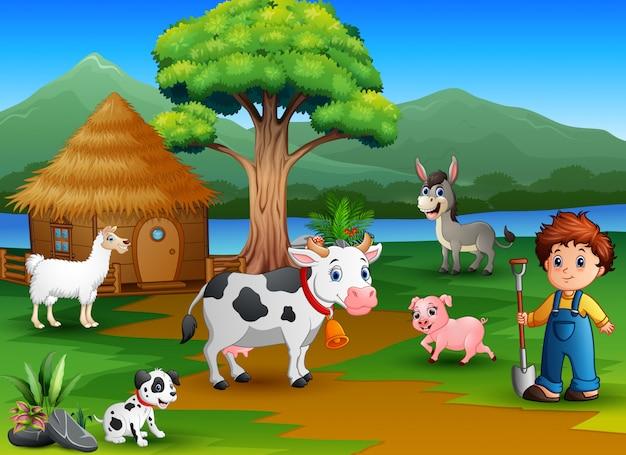 Farmer activity on the nature with animal farm Premium Vector