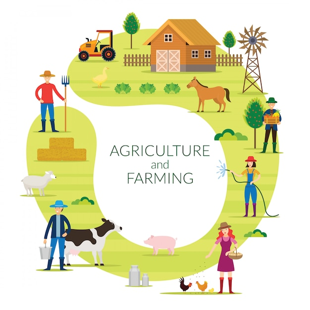 Farmer, agriculture and farming concept round frame, cultivate, countryside, field, rural, people Premium Vector