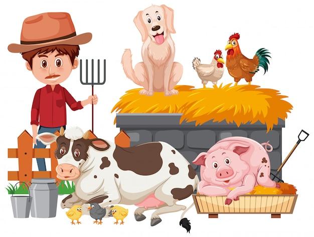 農家と白い背景の上の多くの動物 Premiumベクター