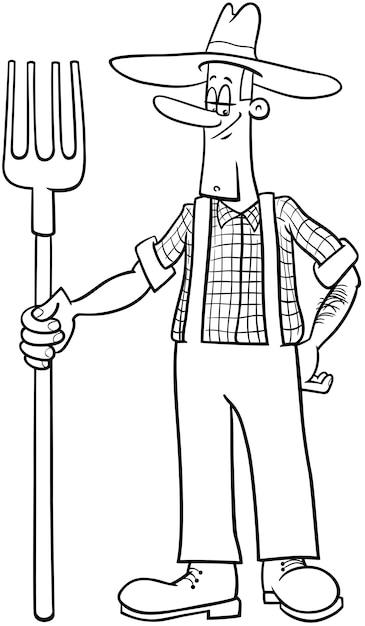 Farmer cartoon coloring page Vector | Premium Download