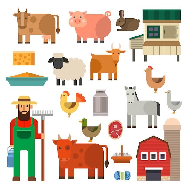 農家文字男農業人職業農村庭師農場の動物イラスト。 Premiumベクター