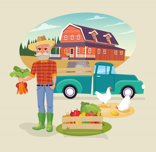 Farmer character with fresh vegetables bunch. Premium Vector