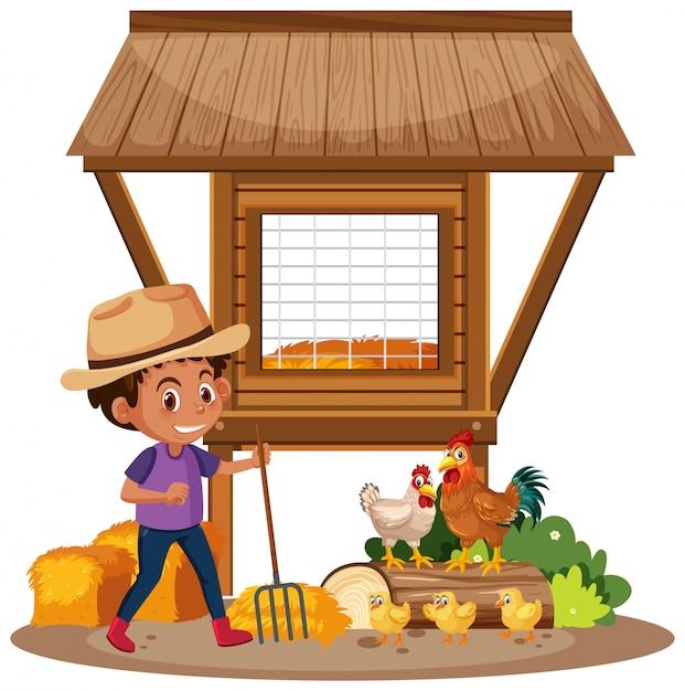 Farmer and chickens on the farm Premium Vector