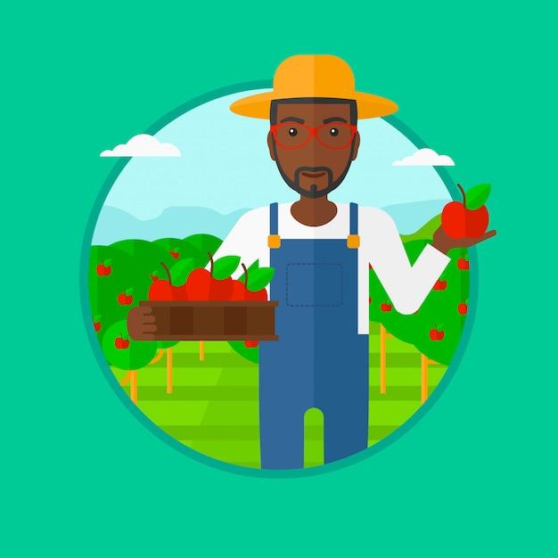 Farmer collecting apples vector illustration. Premium Vector