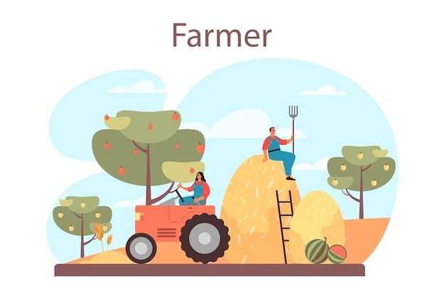 Farmer concept. farm worker on the field, watering plants and feeding animals. summer countryside view, agriculture concept. living in the village. isolated flat illustration Premium Vector