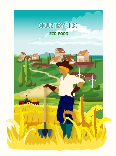 Farmer in the countryside background poster Free Vector