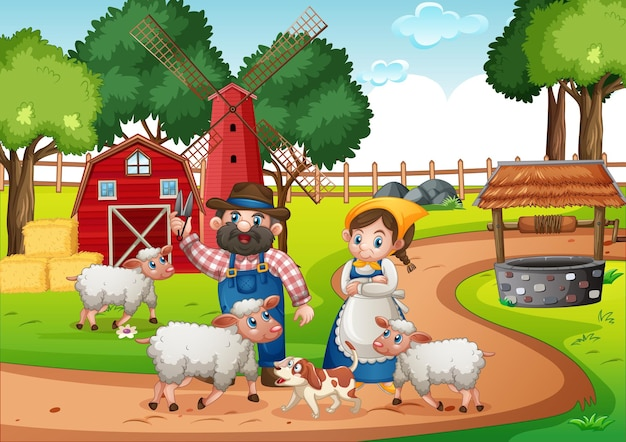 Farmer couple with animals Free Vector