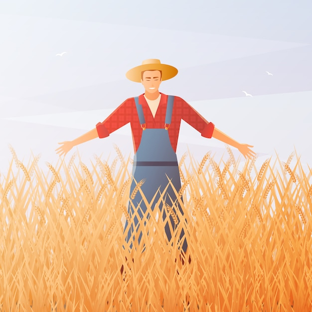 Farmer and crop harvest flat composition Free Vector