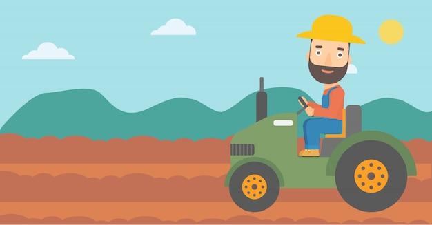 Farmer driving tractor Premium Vector