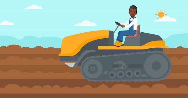 Farmer driving tractor. Premium Vector