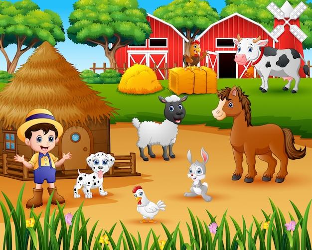 Farmer and farm animal in the farmyard Premium Vector