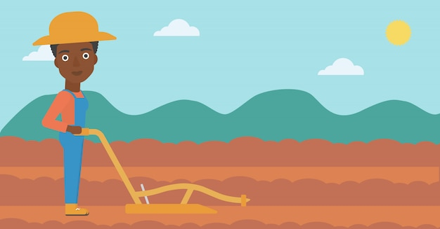 Farmer on the field with plough Premium Vector