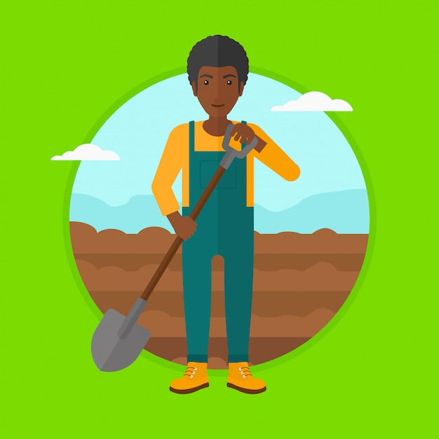 Farmer on the field with shovel. Premium Vector