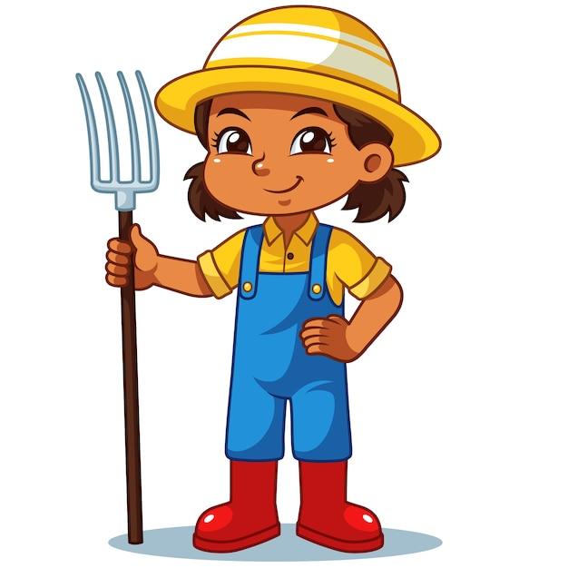 Farmer girl holding fork ready to work. | Premium Vector